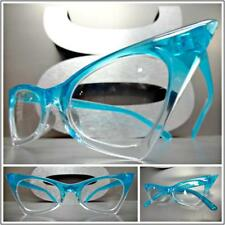 CLASSIC VINTAGE RETRO CAT EYE Style Clear Lens EYE GLASSES Small Turquoise Frame