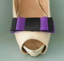2 Black & Purple Triple Bow Clips for Shoes - other colours on request