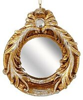 """Raz 4"""" Distressed Gold Round Mirror Scroll Accents Christmas Ornament"""