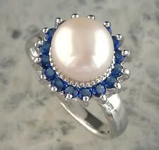 Genuine NATURAL white AKOYA PEARL &BLUE SAPPHIRE 925 sliver RING SIZE 9