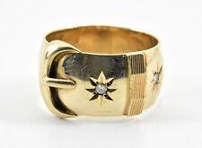 Vintage 9ct Gold & Diamond Mens Buckle Ring (Slade & Wolfe, 1978)