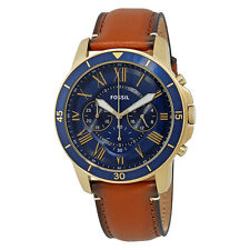 Fossil Grant Blue Dial Mens Chronograph Leather Watch FS5268