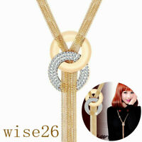 Fashion Women Gold And Silver Long Chain Lariat Necklace Tassel Pendant Jewelry