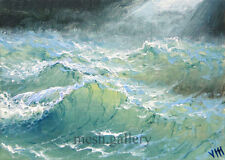 137 - 5x7 CANVAS GICLEE FINE ART PRINT SEASCAPE Pacific Ocean Wave Force Typhoon