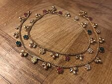 New Jewelry Gold Plated Pearl Ruby Green Ankle Bracelet Indian Payal Anklet