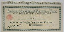 ETABLISSEMENTS BADIN ET FILS ACTION 5000 RANCS BARENTIN 1940