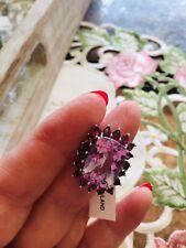 Size 9-13.10ct Rose De France Amethyst, Rhodolite Garnet Platinum/Sterling Ring