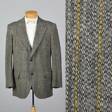 43L 1970s Mens Brooks Brothers Bespoke Gray Tweed Jacket Wide Lapel 70s VTG