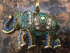 Pendent Elephant Enamel Rhinestone Multi color Bronze