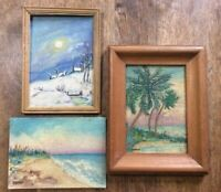 Vintage 40s paintings landscapes SIGNED Brown