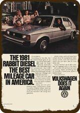 1981 VOLKSWAGEN RABBIT DIESEL CAR Vintage Look DECORATIVE METAL SIGN - VW RABBIT