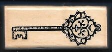 SKELETON KEY PAISLEY SWIRL Occasion Card Gift Tag MEDIUM NEW Wood RUBBER STAMP