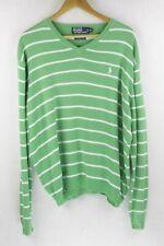 Mens RALPH LAUREN Jumper CANDY STRIPED SPORT Sweater PIMA XL EXCELLENT Green P68