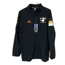 Adidas Authentic NHL Anaheim Ducks 1/2 Zip LS Pullover Jacket Mens M Black NWT