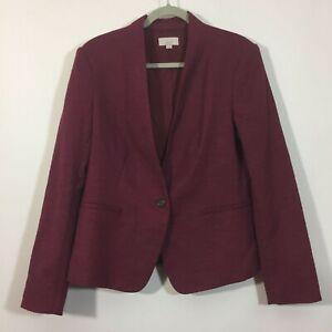 Ann Taylor LOFT Blazer Women Size 12 Purple Single Button Front Career Jacket
