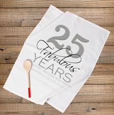PERSONALISED TEA TOWEL SILVER 25th WEDDING ANNIVERSARY GIFT- 25 Fabulous Years