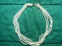 """Vintage 20"""" Seed Pearl Necklace Multi-Strand (5) with 14K Clasp"""