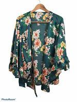 Umgee Women's Green Long Bell Sleeve Open Wrap Kimono Floral Satin Blouse Small