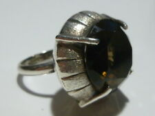 AVM MEXICO EAGLE 3 MARK STERLING SILVER SMOKY QUARTZ MODERN WOMENS RING BAND