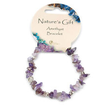 Purple Amethyst Gem Crystal Chip & Charm British Fossils Natures Gift Bracelet