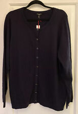 Nwt Talbots 2X 20W Navy Blue Classic Cotton And Cashmere Blend Cardigan