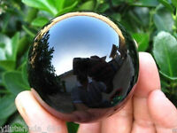 New 40MM+Stand Natural Black Obsidian Sphere Large Crystal Ball Healing Stone