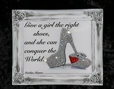 Shoe Quote Glitter / Diamond dust Canvas Picture Shabby Chic frame , Wall Art.