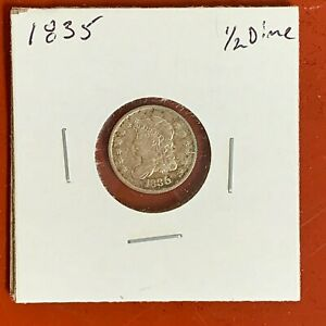1835 Capped Bust Silver Half Dime High Grade , Old time Cleaning