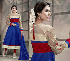 DARK BLUE DESIGNER ANARKALI COTTON SALWAR KAMEEZ SUIT DRESS MATERIAL LADIES DEN
