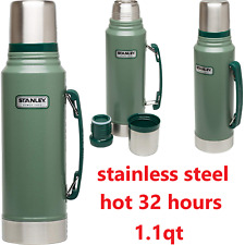 Classic Vacuum Thermos Bottle Coffee Stanley Green Hammertone 1.1 Qt Stainless