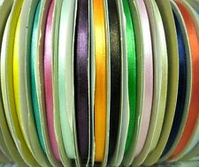 TOP QUALITY SATIN RIBBON, 6MM, ASSORTED COLOURS, 100M/ROLL, FREE P&P