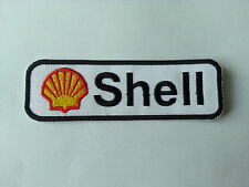 MOTORSPORTS RACING TYRE SEW ON / IRON ON PATCH:- SHELL (c) WHITE & BLACK STRIPE
