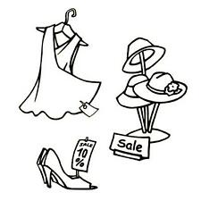 3 unmounted rubber stamps - HATS, DRESS, SHOE SALE, womens fashion #5