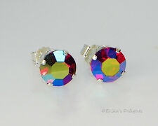 Gorgeous!! 7mm AB Siam Sterling Silver Earrings Made with Swarovski Crystals