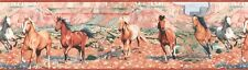 """HORSES ON THE RANGE-BORDER-8"""" HIGH-PREPASTED-$9. A ROLL-FREE S&H"""