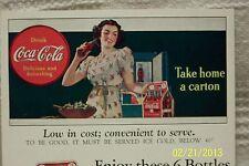 1930's COKE Postcard Coupon TAKE HOME A CARTON Coca-Cola Bottling FORT WAYNE, IN