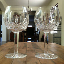 "2 Lot Waterford Crystal Lismore Oversize Balloon Wine Hocks Set 7 5/8"" Mint"