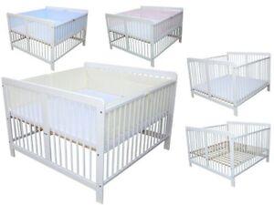 Zwillingsbett Kinderbett für Zwillinge massiv weiss mit 2 Matratzen und Nestchen