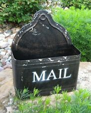 BLACK Metal Letter MAILBOX/Storage BIN/Utensil Holder*Primitive Farmhouse Decor