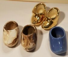 VINTAGE LOT OF 5 CERAMIC WOODEN DUTCH SHOE FIGURINES