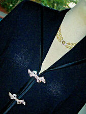 St John Dressy Evening Jacket Skirt Suit Navy w/Crystal Buckles  c'!  4/6  S