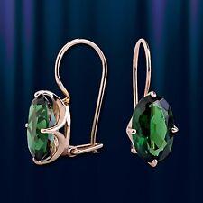 Green Jade CZs Stick Earrings Russian Solid Rose Gold 585 /14k
