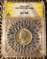 """1964 Silver Washigton Quarter with Mint Error """"Wart Nose"""" ANACS Certified AU58"""