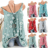 Womens Loose Tee Vest Shirt Sleeveless Casual Lady Blouse Holiday Cami Tops