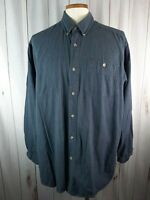 Wrangler Rugged Wear Mens 2XT Button Down Blue Cotton Casual Shirt Tall Collared