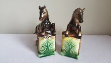 Vintage Pair Of Jumping Horse Bookends, Mid Century Ceramic.
