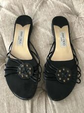 3d2b6e9c8daa06 Pre owned Jimmy Choo Black Leather Sandals Shoes Strappy Flats Sz 40