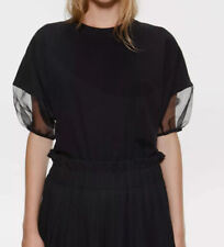 Zara Chiffon/Mesh Puff Sleeve Organza Sleeves T-shirt Size M