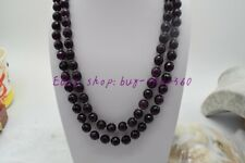Natural Beautiful 8mm Faceted Round Garnet Gemstone Necklace 36""
