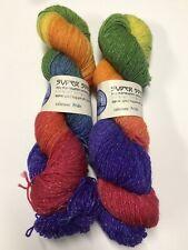 New listing Blue Moon Hand Dyed Wool Yarn Rainbow Glitter